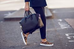 Leopard shoes look perfect with an all-black outfit.