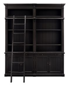 Enchanting vintage silhouettes with simple lines and rich finishes infuse your space with the ambiance of an old English library. Athens includes a grand bookcase featuring an authentic library-style ladder sliding on a solid brass bar and a cabinet base with drawers for extra storage. Also, in French White