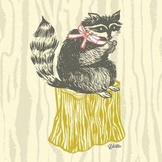 Oopsy Daisy - Perched Raccoon Canvas Wall Art 18x18, Sarah Watts