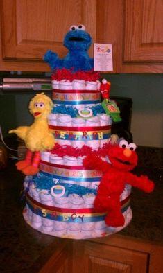 Sesame Street diaper cake by rosemarie