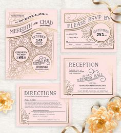 Add an art deco touch to your wedding invitation suite with an unique design from Minted.