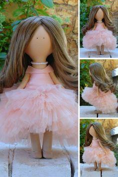 Dress doll Fabric doll Handmade doll Soft doll Rag doll Tilda doll peach color doll Interior doll Unique doll Doll toy by Margarita Hilko