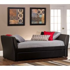 Natalie Leather Daybed in Black with Roll-Out Trundle