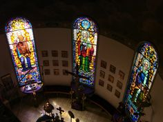 Stain glass inside the St. George Greek Orthodox Church in Fresno, CA. Home of the Fresno Greek Fest!
