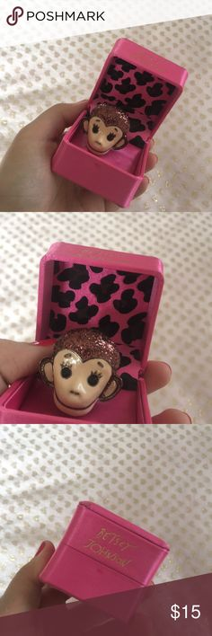 Adorable Betsey Johnson Monkey Ring Super cute ring! Stretchy ring band so it can fit any size finger. Super sparkly and unique! Never used Betsey Johnson Jewelry