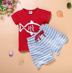2018 Boy's Summer Set, Boat Anchor Fish Striped Boy Clothes T shirt Beach Shorts. Sizes 12M To 6Y