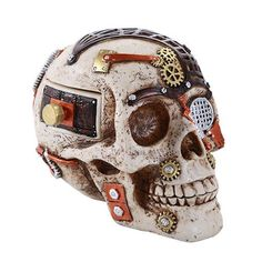 Statue Skull Steampunk Box Approx Dims: 6 x 4 x Material: Cold Cast Resin Description: Hand Painted Steampunk Drawing, Steampunk Design, Gothic Steampunk, Steampunk Fashion, Diesel Punk, Cyberpunk, Steampunk Furniture, Harry Potter Bedroom, Steampunk Halloween