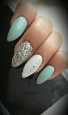 Almond nails White And Silver Hauls Nails with rhinestones Blue nails Acryli … Nail Design Ideas! is part of Almond nails Winter Red - Almond nails White And Silver Hauls Nails with rhinestones Blue nails Acrylic nails AcrylicNai Gorgeous Nails, Pretty Nails, Amazing Nails, Acrylic Nail Designs, Nail Art Designs, Mint Nail Designs, Almond Nails Designs Summer, New Nail Designs 2017, Nail Crystal Designs