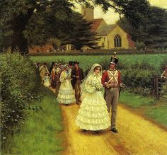 'The Wedding March' (1919) by English painter Edmund Blair Leighton (1852-1922). Painter of historical genre scenes, specializing in Regency and medieval subjects.