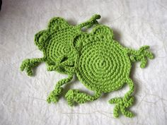 Awesome I love them....Green Frog Coasters  set of two by madebyclifford on Etsy, $6.50