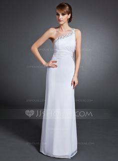 Sheath/Column One-Shoulder Floor-Length Chiffon Evening Dress With Ruffle Beading Sequins (017015106) - JJsHouse