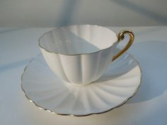 Rare Shelley Ludlow Tea Cup Saucer Set White Gold Fluted Christmas Wedding Anniversary Birthday Gift by ColorfullGifts on Etsy