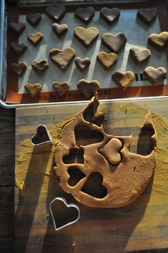 cutting out cinnamon hearts