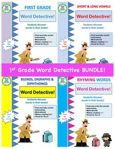 This four part First Grade Word Detective bundle is perfect for Literacy Center activities. Students look in their books and tally how many times they find the sight words, blends, digraphs and diphthongs. Students then search for rhyming words and write them down in the rhyming words activity pages.