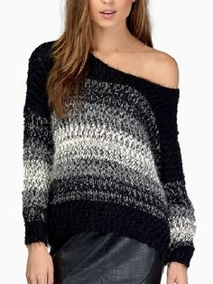 High Quality Round Neck Blended Striped Pullover Pullover from fashionmia.com