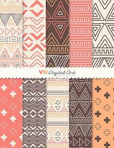 "Digital Paper, Doodle Tribal, Aztec Digital Scrapbook Paper Pack (8.5x11""-300 dpi) - INSTANT DOWNLOAD -- 10 Digital papers -- 524"