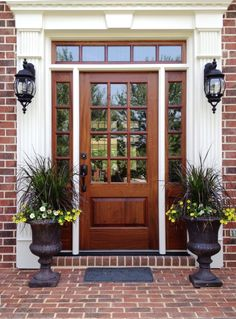 glossed brown front door color for brick house mixed antique potted plants. Tempting Front Door Colors For Brick Houses Change The Old Opinion Wood Front Doors, Exterior Front Doors, The Doors, Front Door Colors, Glass Front Door, Entry Doors, Front Entry, Patio Doors, Glass Doors