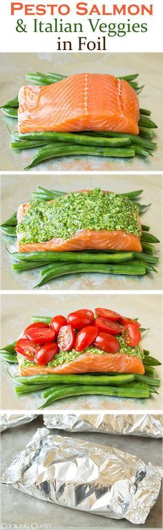 Healthy Meals Pesto Salmon and Italian Veggies in Foil - this is an easy, flavorful dinner that is sure to please! So delicious! - Pesto Salmon and Italian Veggies in Foil - this is an easy, flavorful dinner that is sure to please! So delicious! Cooking Recipes, Healthy Recipes, Healthy Meals, Cooking Foil, Locarb Recipes, Vegetarian Recipes, Atkins Recipes, Quick Recipes, Bariatric Recipes