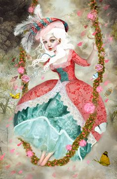 """""""Marie Antoinette, before the ills befell her, must have been very merry. This is how I imagined her, Marie in my Fancy"""" Lisa Falzon"""