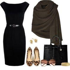 Black dress and animal print shoes
