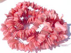 1 Bulk Strand Light Coral Salmon Free Form Mother by GodivaJewels, $5.00