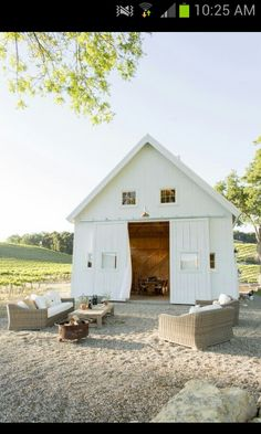 Wine Country White Barn With Loft Area Vineyard Outdoor Sitting I Love The Rolling Doors That Bring And Indoor Living Spaces