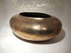 Hammered Brass Oval Planter - Cachepot