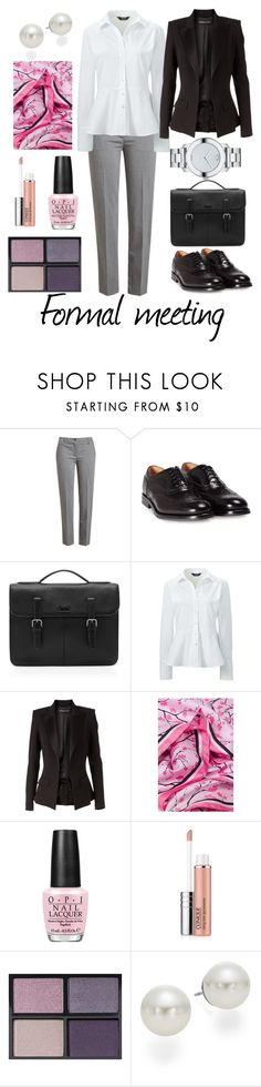 """Formal meeting"" by kacenka-1 ❤ liked on Polyvore featuring Jil Sander Navy, Church's, Ted Baker, Lands' End, Alexandre Vauthier, OPI, Clinique, Tom Ford, AK Anne Klein and Movado"