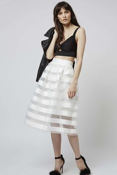 Look to soft hues and sheer panel detailing in this prom style midi skirt. The elegant shape sits high on the waist for a girlie silhouette and is perfect styled with cropped lines on top. #Topshop
