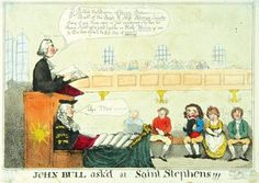 'John Bull ask'd at St Stephens!!!' by J. Cawse, 1800. A satire on the Union with Ireland - Pitt is in the pulpit announcing the banns of marriage between John Bull and Miss Hibernia Spinster.