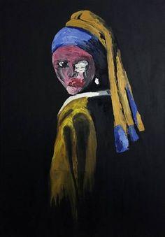 "Saatchi Art Artist VISAN STEFAN; Painting, ""Girl with a Pearl Earring Reinterpretation"" #art"
