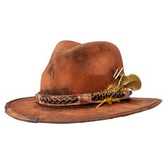Strike gold with this rugged new style from American Hat Makers. Each piece is distressed by hand for a totally unique look and feel. A vintage fossil leather brim combined with a durable wool felt crown makes this hat not only a stunner in looks, but also a headpiece to last a lifetime. #hats #fedorahats Leather Hats, Cowhide Leather, Felt Crown, Outdoor Hats, Cool Hats, Fedora Hat, Distressed Leather, Stylish Men, Hats For Men