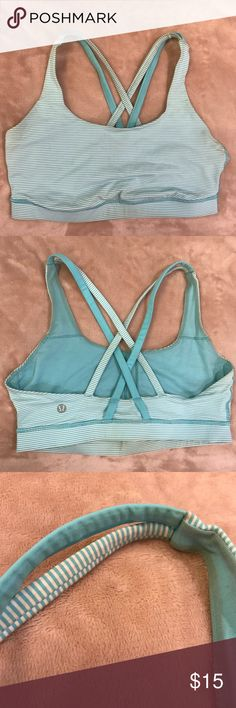 LuLu Lemon energy bra Blue and white striped bra from LuLuLemon. Slightly discolored inside. Outside in great condition. Size 8 Bundle my sports bras for a discount 💕🤗 lululemon athletica Intimates & Sleepwear Bras