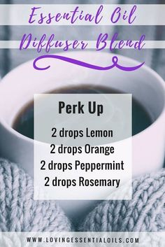 Essential Oil Diffuser Blend - Perk Up by Loving Essential Oils Essential Oil Diffuser Blends, Doterra Essential Oils, Doterra Diffuser, Aroma Diffuser, Pure Essential, Diffuser Recipes, Homemade Diffuser, Living Oils, Diffuser