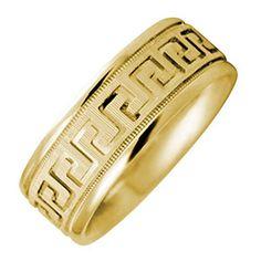 14K Gold Designer Greek Key Men's Comfort Fit Wedding Band (8mm)