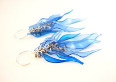 Blue Upcycled Plastic Water Bottle Earrings. Who would think you can make such beautiful earrings from a plastic bottle?