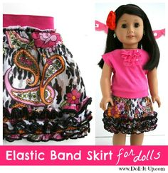 An easy tutorial for making an elastic band skirt! An easy tutorial for making an elastic band skirt! Sewing Doll Clothes, Girl Doll Clothes, Doll Clothes Patterns, Barbie Clothes, Girl Dolls, Ag Dolls, Doll Patterns, Dress Patterns, Clothing Patterns