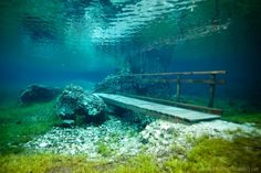 Underwater Park! Located in the foothills of Hochschwab, in Tragoess, Styria, AUSTRIA. 1/2 of the year it is a park and 1/2 of the year it is Green Lake! Bucket list!