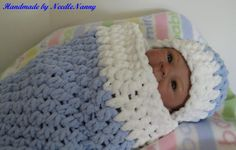 This is a baby blue and white super soft and sweet cocoon for your baby or to give for that special baby for a shower gift. It is hand crochet by me in a super soft blanket yarn with white edging.. Made for babies 0-3 months old, cocoon measures approximately 18 long and 22 around with a good stretch to get on and off. . Hat to match 5 in length and 14 to 16 inches around.    This can be used for Preemies, just turn the top down.    This is a beautiful soft blanket yarn out of polyester.  A…