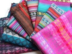 South American Fabric, Peruvian Fabric, Woven Fabric Bundle, Sample Pack, 8 Pieces