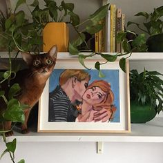 It me. (The mournful cat not the besmooched girl.) (There's a large Walter Robinson show at Deitch Projects and an extremely tiny Walter Robinson show at my apartment. I like the aspirational-romance-tinged-with-despair of this specimen.)