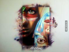 Neznámy - photorealistic graffiti