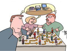 Tijdens een reorganisatie wordt er door directie geschoven met de poppetjes (medewerkers)