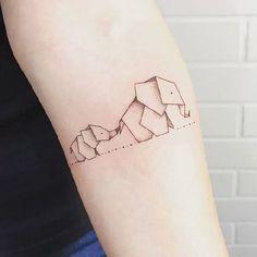Home - Tattoo Spirit - Small & Tiny Tattoo Designs - Origami Tattoo, Origami Elephant Tattoo, Elephant Tattoo Design, Elephant Tattoos, Geometric Elephant Tattoo, Geometric Animal, Elephant Design, Animal Tattoos, Mini Tattoos
