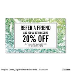 Tropical Green/Aqua Glitter Palms Referral Business Cards for Spray Tanning…