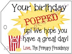 LDS Primary Birthday Gift Tags for popcorn printable digital