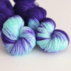 Hand Dyed Sock Fingering Yarn - Superwash British Falkland Merino / Nylon - 465 yards - Hecate - Indigo Purple Blue and Turquoise. $29.00, via Etsy.
