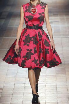 Lanvin   Belted floral-jacquard dress