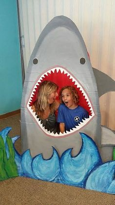 shark photo prop.  ocean themed party