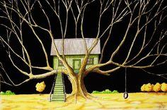 """Saatchi Art Artist Kyle Brock; Painting, """"The Tree House"""" #art"""